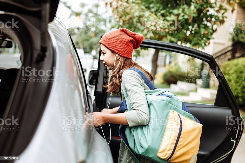 Going to school by car stock photo