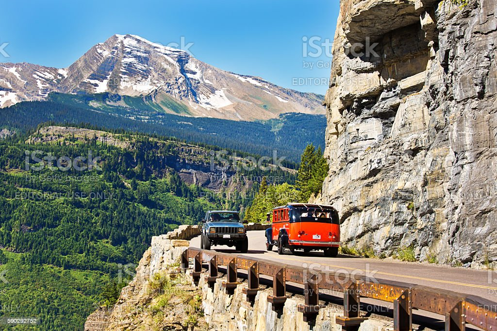 Going To The Sun Road at Glacier National Park, Montana stock photo