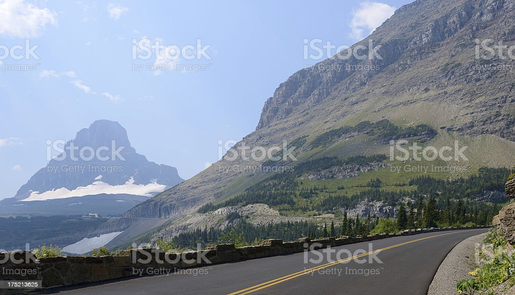 Going to The Sun Road with No Cars or Traffic royalty-free stock photo