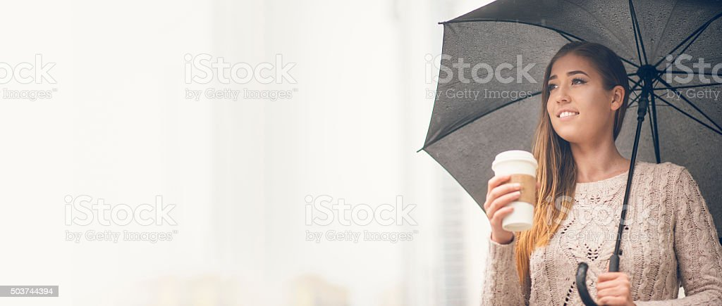 Going to work in the rain stock photo