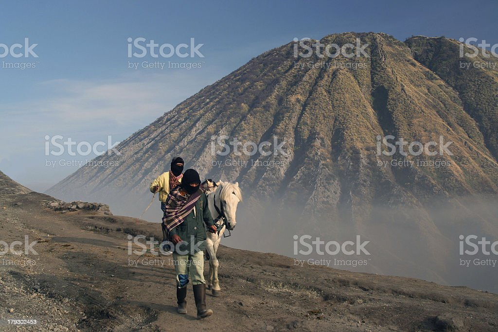 Going up to the Bromo mountain stock photo
