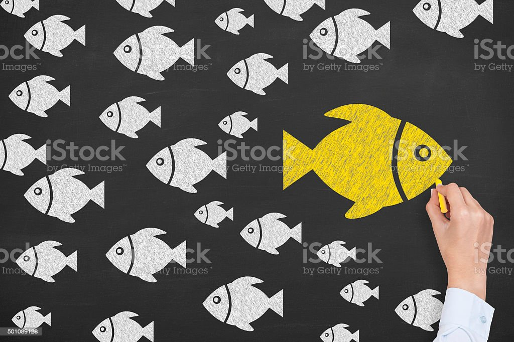 Going Your Own Way on Blackboard stock photo