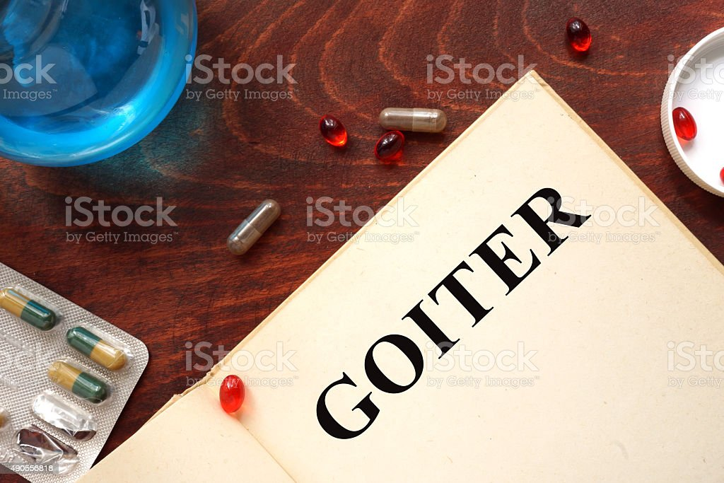 Goiter  written on book with tablets. stock photo