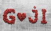Goji berries in shape of heart