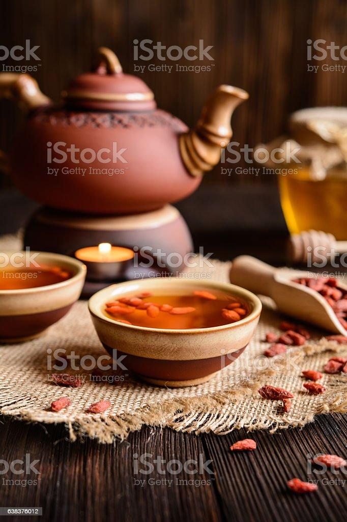 Goji berry tea stock photo