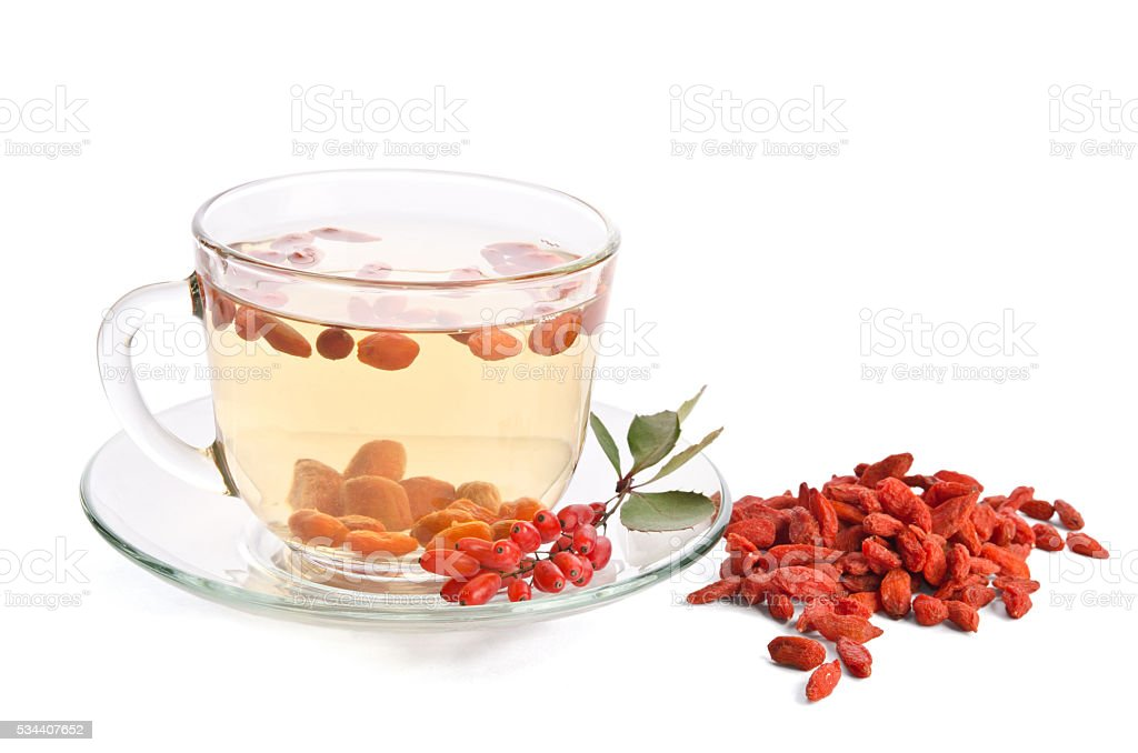 goji fresh antioxidant tea  isolated on white background stock photo