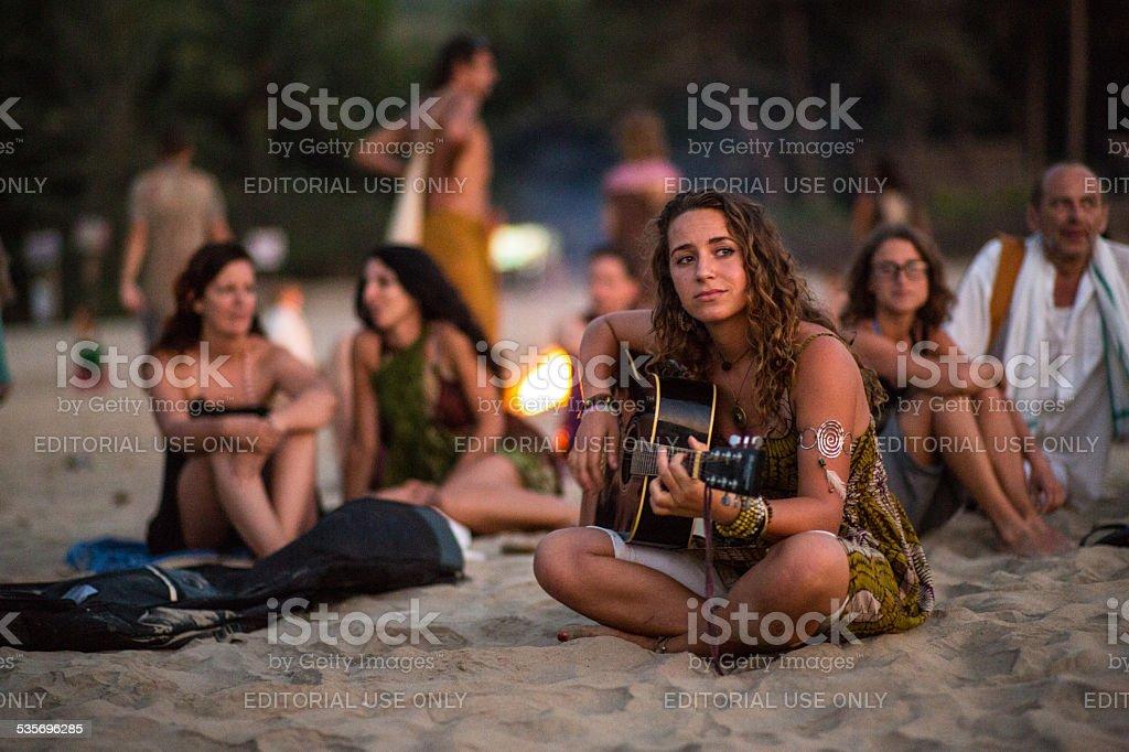 Gokarna_Beach_girl stock photo