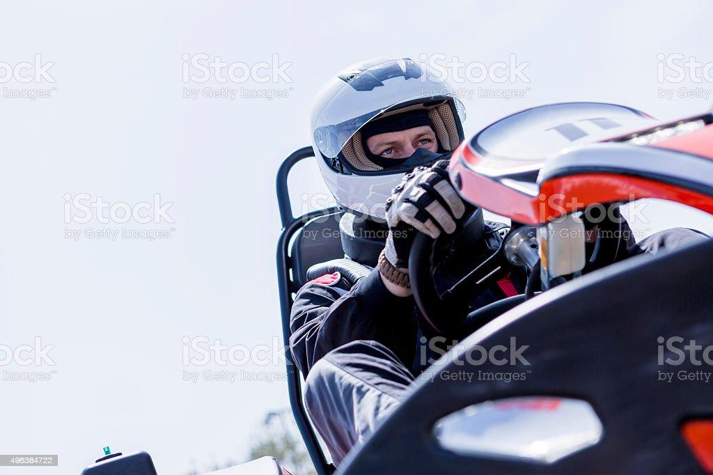 go-kart driver on the starting line stock photo