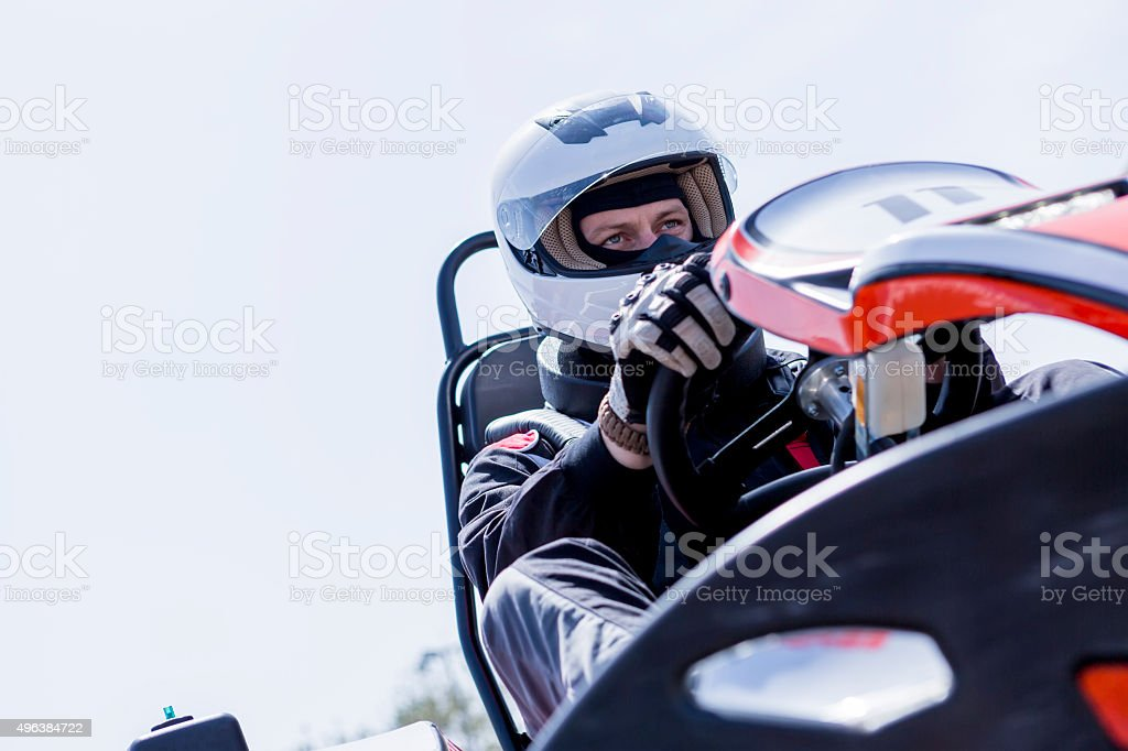 go-kart driver on the starting line stock photo