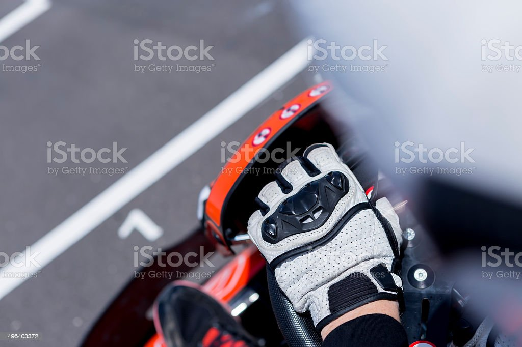 gokart pilot on the starting line stock photo