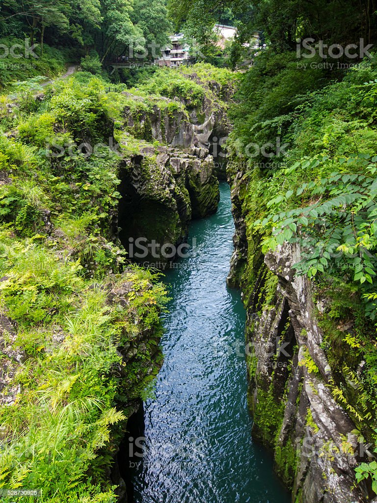 Gokaso river at Takachiho Gorge, Japan stock photo