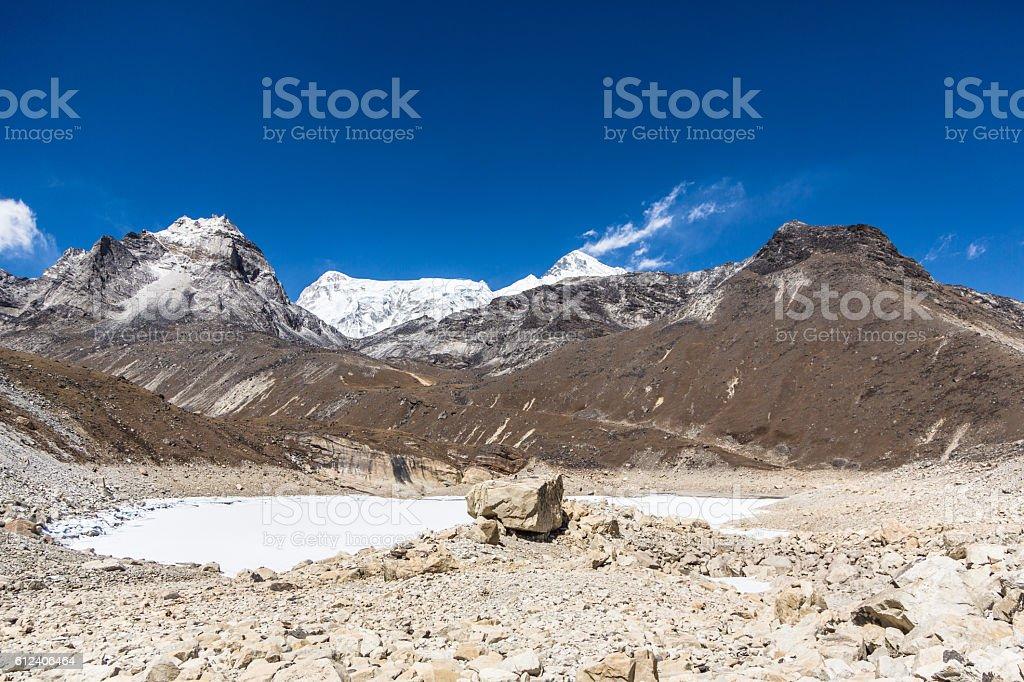 Gokyo 5th lake and Cho Oyu peak (8153m) in Nepal stock photo