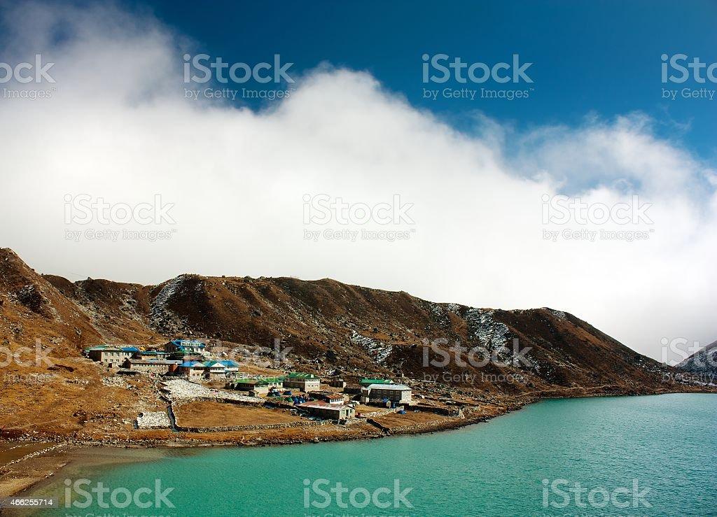 gokyo lake and village stock photo