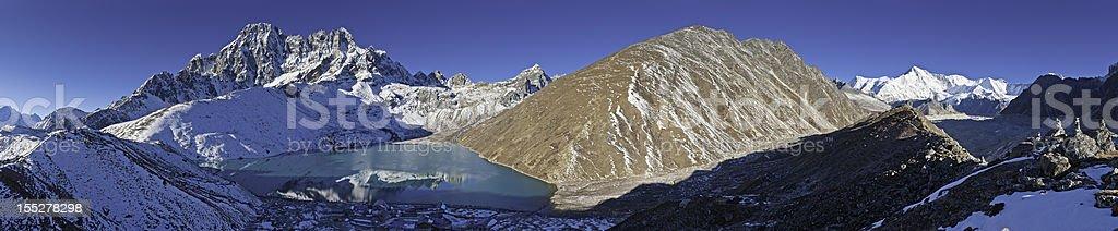 Gokyo Lake panorama Himalaya mountain peaks Nepal stock photo