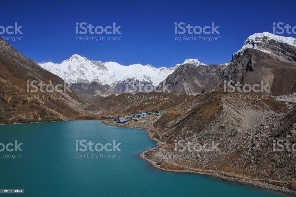 Gokyo lake, village and mount Cho Oyu stock photo