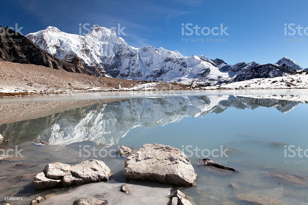 gokyo valley near mount Cho Oyu stock photo