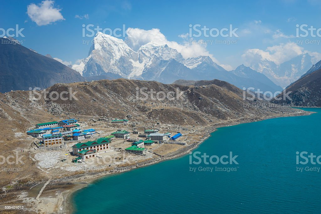 Gokyo village and lake, Everest region stock photo