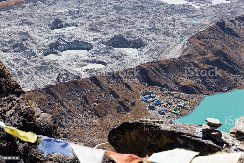 Gokyo village, lake and Ngozumpa glacier view. stock photo