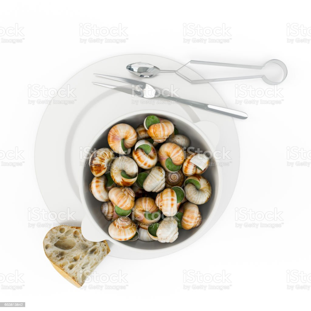 Gol baeng tang is korean style whelk soup, bourguignonne snail au gratin stock photo