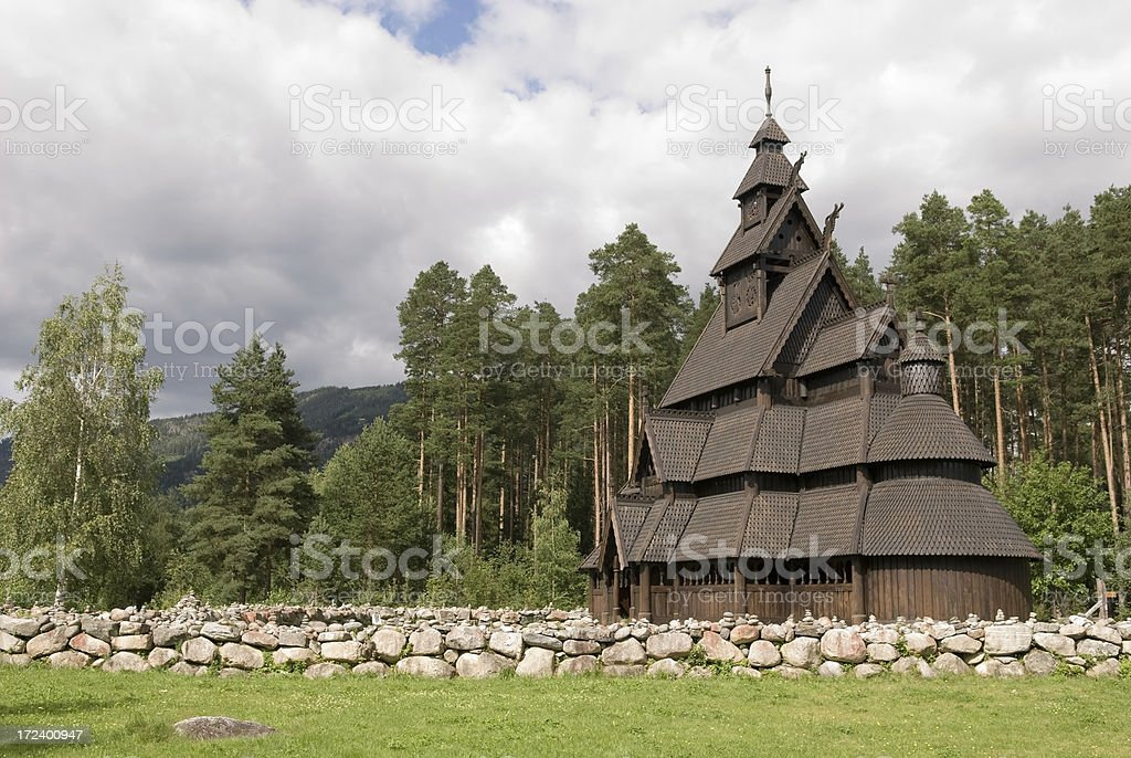 Gol stave-church in Norway royalty-free stock photo