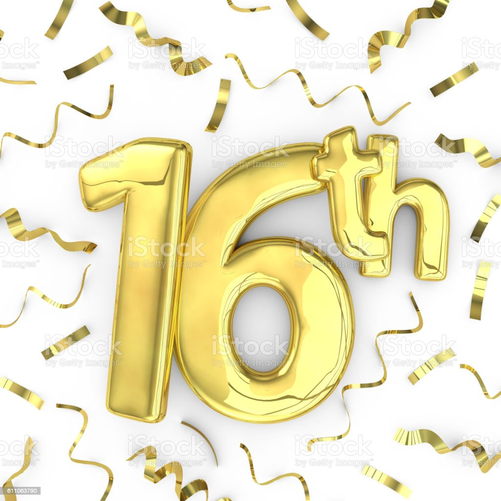 Gold 16th party birthday event celebration background stock photo