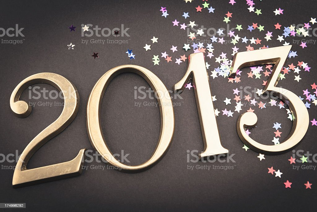 Gold 2013 New year text on christmas decoration royalty-free stock photo