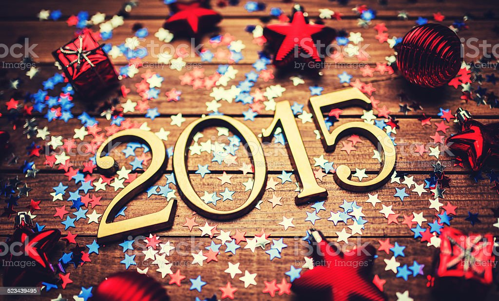 Gold 2015 New year text on christmas decoration stock photo