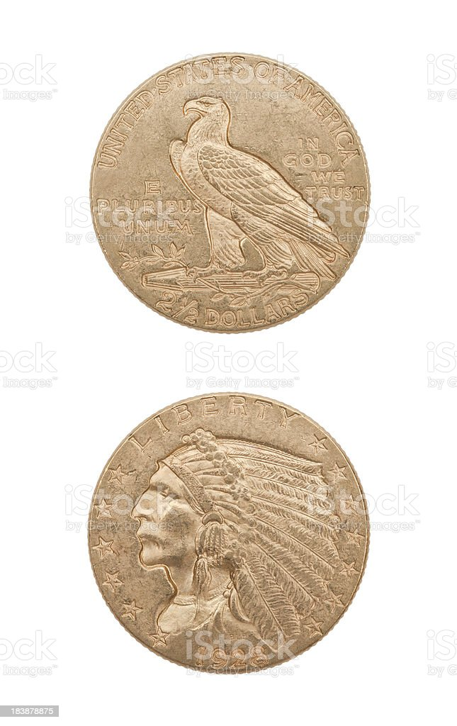 U.S. gold 2.5 dollar coin royalty-free stock photo