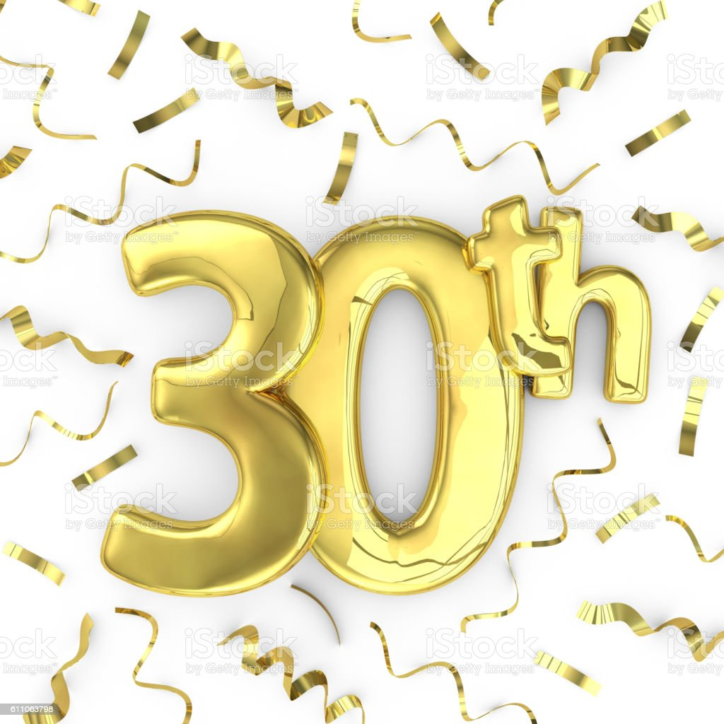 Gold 30th party birthday event celebration background stock photo