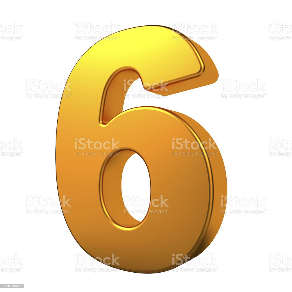 Gold 3D Number. royalty-free stock photo