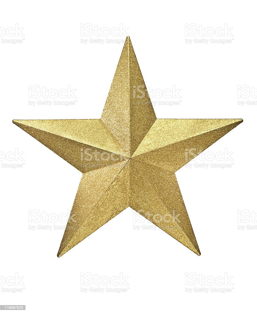 Gold 3D star on a white background stock photo