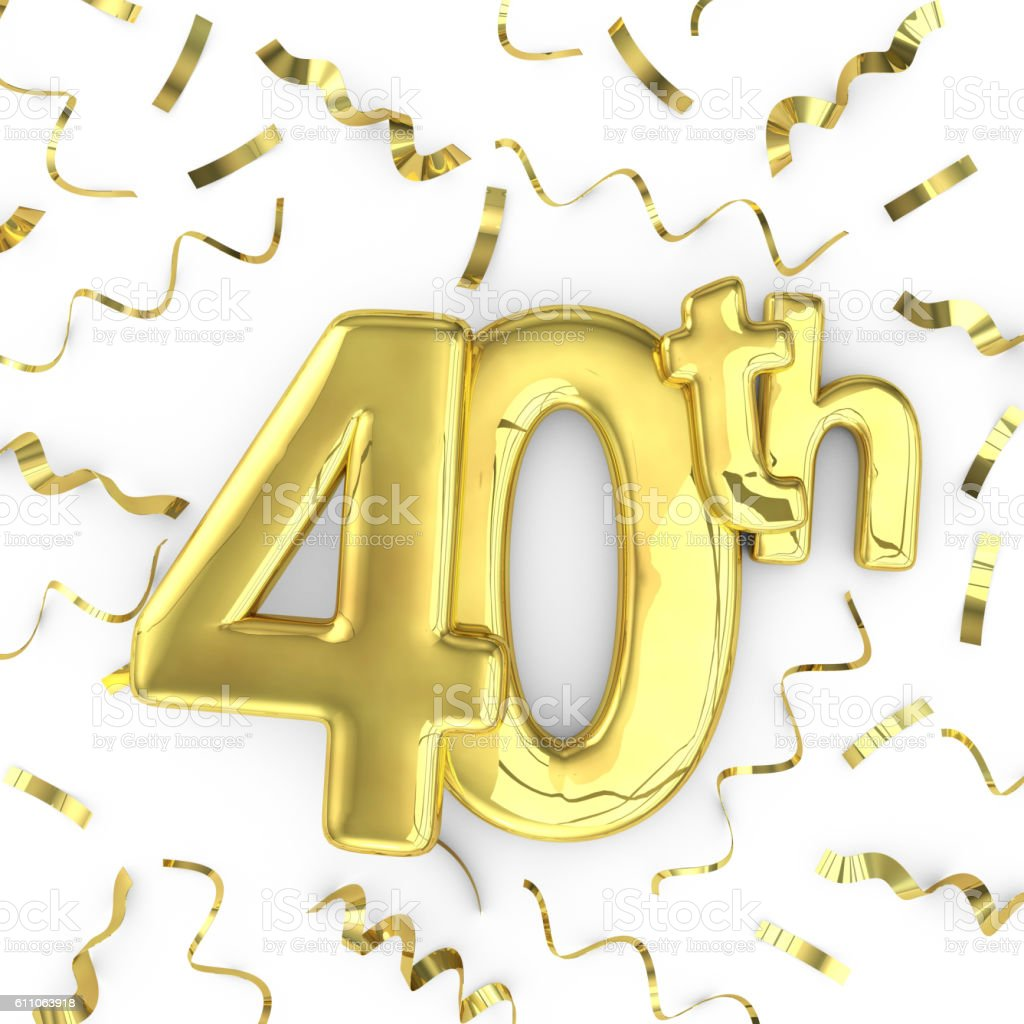 Gold 40th party birthday event celebration background stock photo