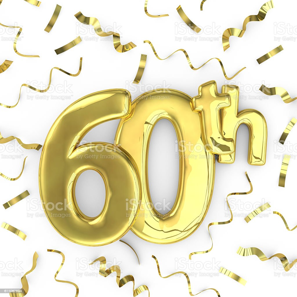 Gold 60th party birthday event celebration background stock photo