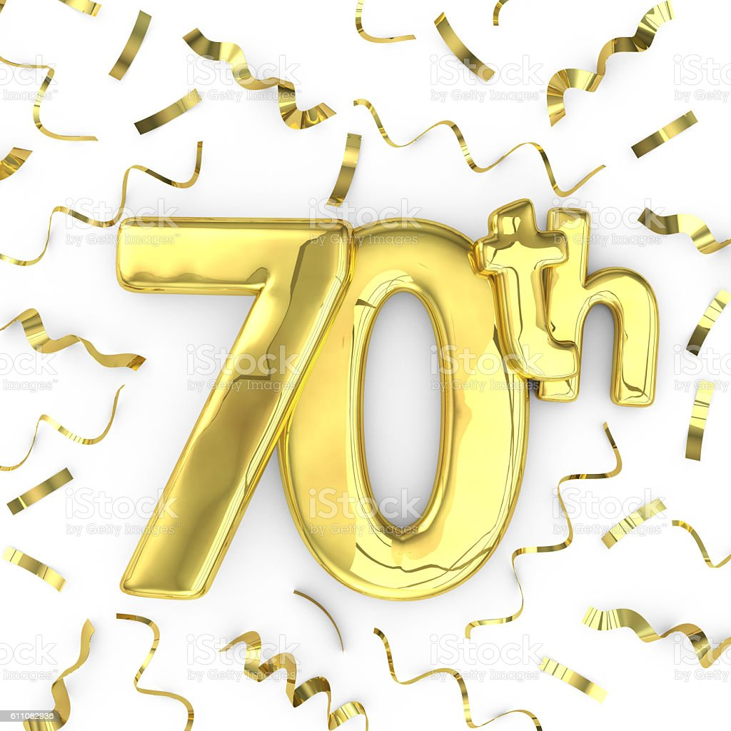 Gold 70th party birthday event celebration background stock photo