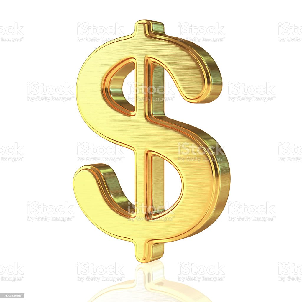 Gold Alphabet Dollar Sign stock photo
