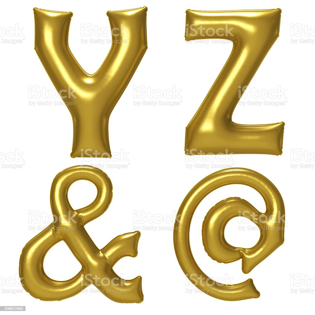 Gold alphabet foil balloon set with clipping path stock photo