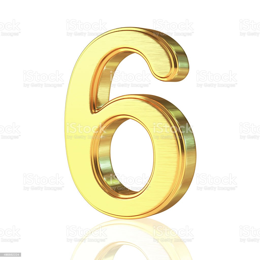 Gold Alphabet Number 6 stock photo