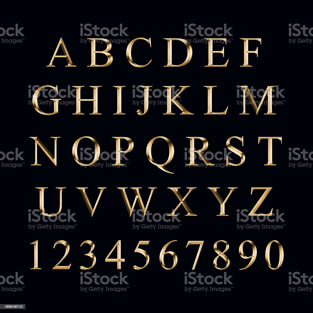 Gold alphabet with numbers stock photo