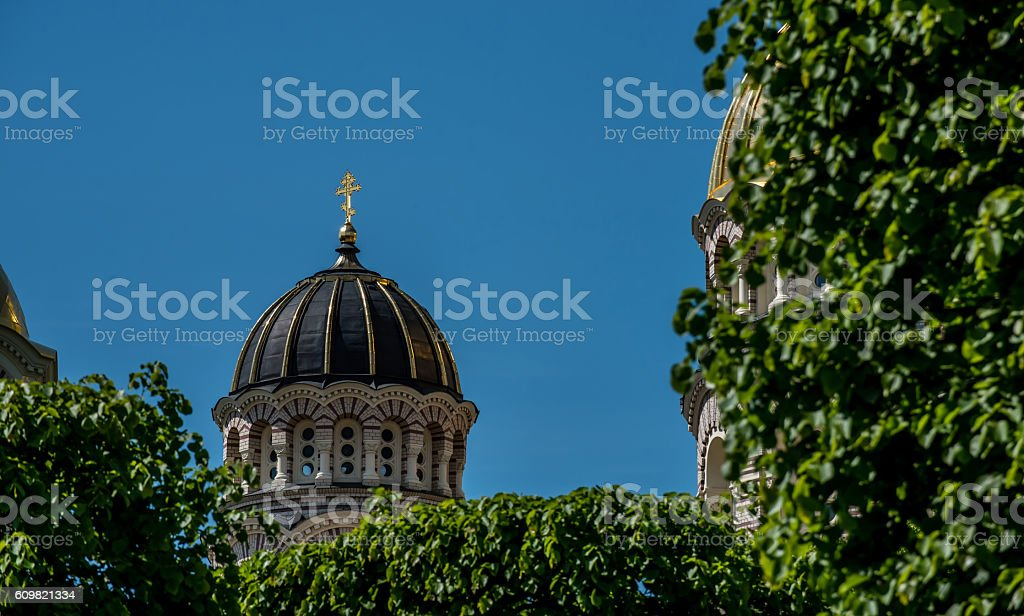 Gold and Black Dome of the Russian Orthodox Cathedral stock photo