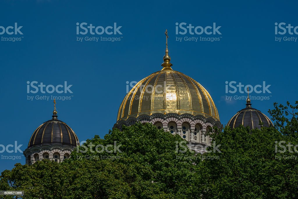 Gold and Black Domes of the Russian Orthodox Cathedral stock photo