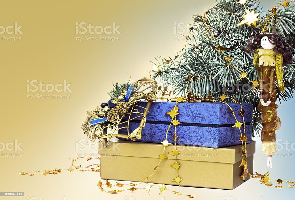 Gold and blue christmas decorations royalty-free stock photo