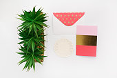 Gold and Coral Stationery Set