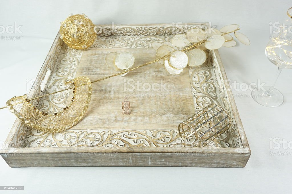 Gold and cream Jewelry Layout stock photo