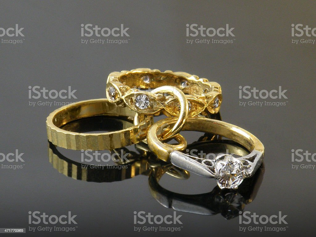 Gold and diamond rings royalty-free stock photo