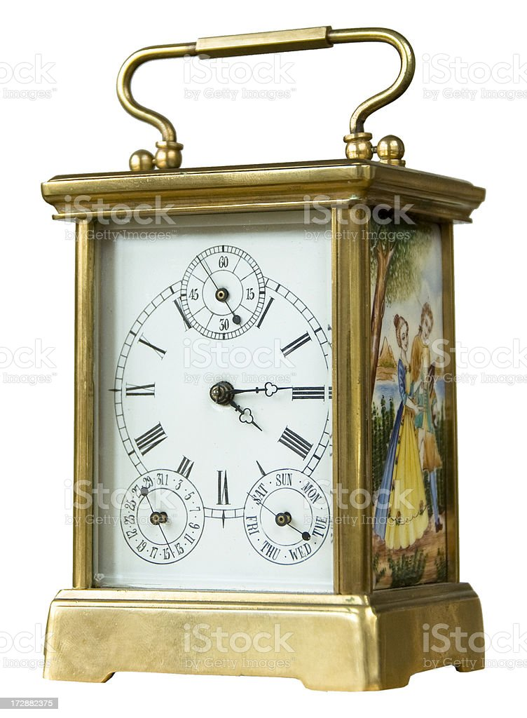 Gold And Enamel Carriage Clock stock photo