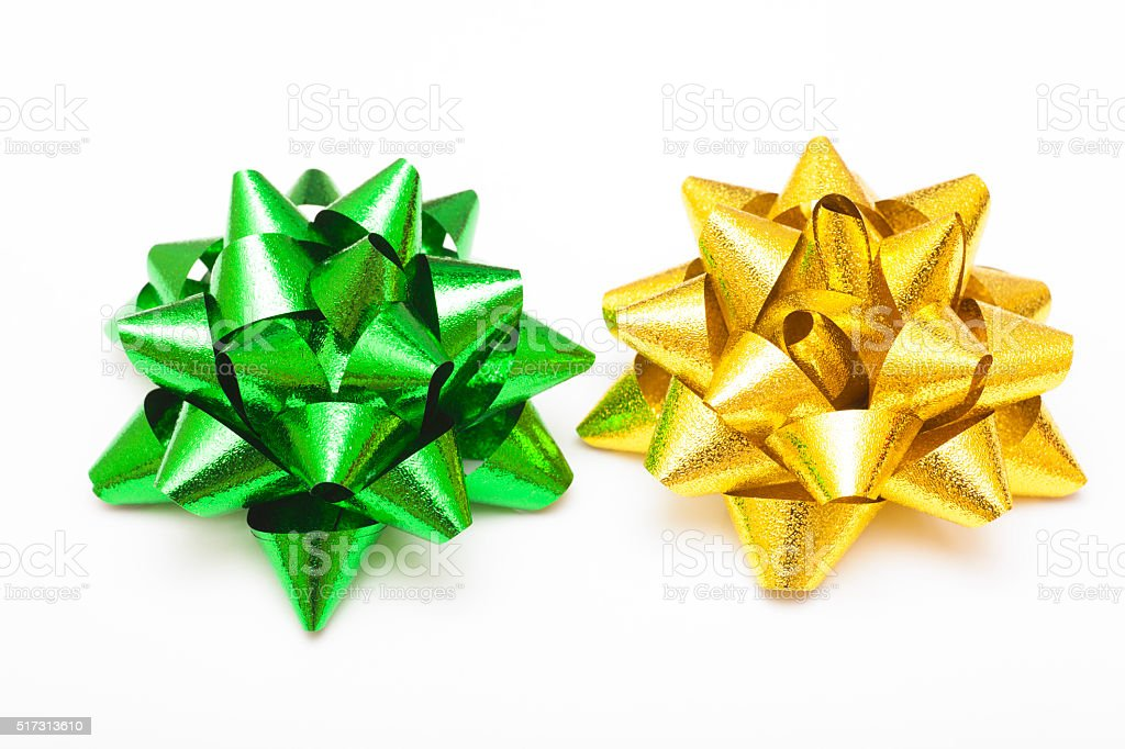 Gold and green bows stock photo