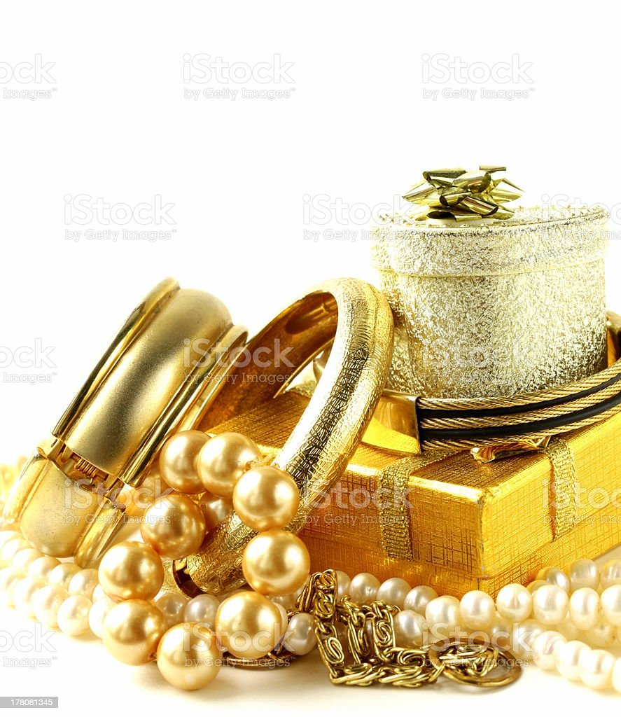 gold and pearl jewelry, gift boxes royalty-free stock photo