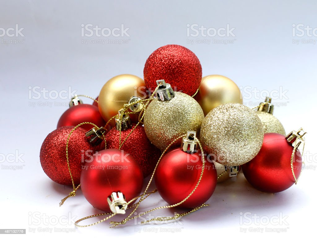 gold and red Christmas ball royalty-free stock photo