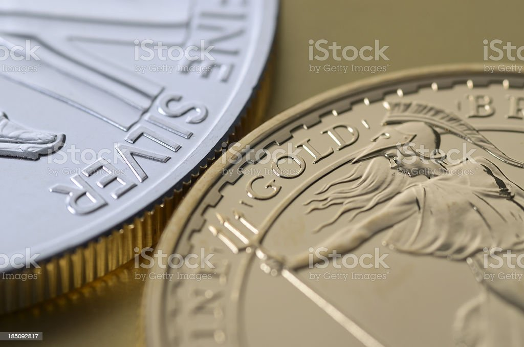 Gold and silver bullion spheres stock photo