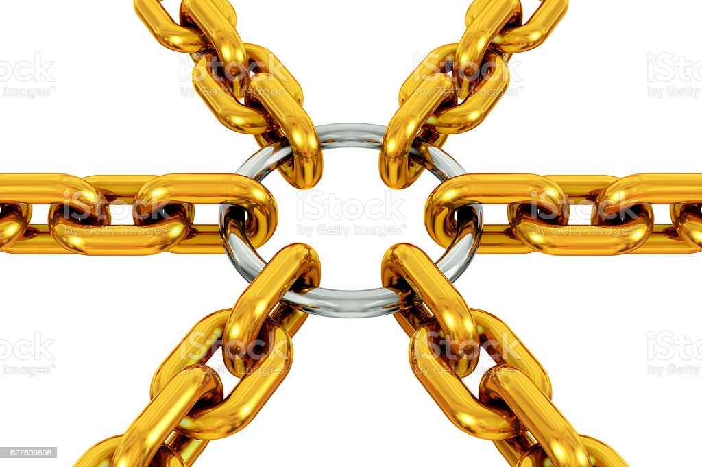 Gold and silver centralization stock photo